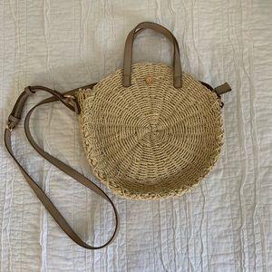 LC Lauren Conrad Straw Circle Crossbody Bag